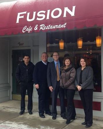 Pictured from left to right: Neo Castro, Chamber member and owner of Fusion Café, John Halsey, Selectman and Chamber board member, Senator Jason Lewis, Chamber President Lisa DeLeo and Chamber Executive Director of Lisa Egan.