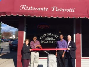 Pavarotti ribbon cutting